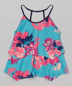 Look what I found on #zulily! Dex Turquoise Hawaiian Print Spaghetti Strap Flowy Tank Top - Girls by Dex #zulilyfinds