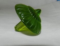 BEAUTIFUL LALIQUE FRANCE SIGNED ART GLASS GREEN SPINNING TOP TOUPIES READ