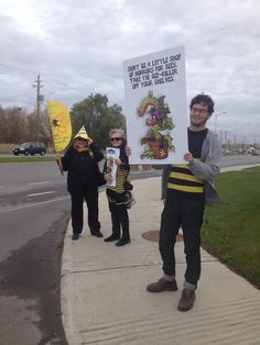 Activists in Ottawa, Canada at Lowe's delivering cards to ask the retailer to stop being a little shop of horrors for bees.