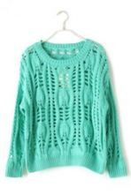Green Long Sleeve Hollow Ripped Pullovers Sweater $35.48  #SheInside #hipster #love #cute #fashion #style #vintage #repin #follow