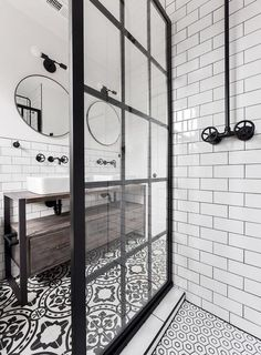 Gridscape Fixed Shower Screen Panel in Black with Clear .- Gridscape Fixed Shower Screen Panel in Black with Clear Glass meg schultz - Bad Inspiration, Bathroom Inspiration, Stenciled Tile Floor, Floor Stencil, Ideas Baños, Decor Ideas, Decorating Ideas, Theme Ideas, Bathroom Interior Design
