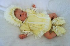 """Hand knitted frilly lace angel top/dress, frilly knickers/pants, bootees and bonnet in cream DK to fit 3-6 months or reborn 21-22"""" by KosyKnits on Etsy"""