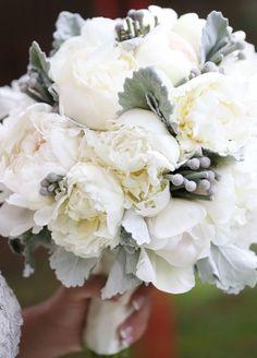 Wedding bouquet grey white