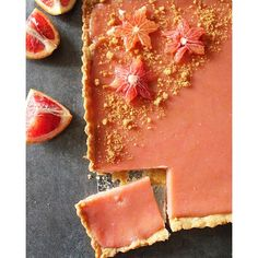 Blood Orange Curd Tarts. Get this and 12+ more Seasonal Desserts recipes at https://feedfeed.info/seasonal-desserts