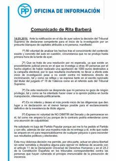 El plan 'B' de Barberá: abandona el PP para atrincherarse en el Senado como aforada