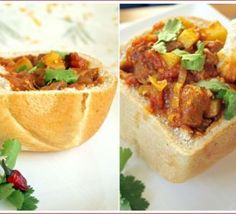 Bunny Chow--which is frequently vegetarian--is a South African street food: curry served in a bread bowl. South African Bunny Chow, South African Dishes, South African Recipes, Ethnic Recipes, Indian Dishes, Asian Recipes, Bbc Good Food Recipes, Yummy Food, Food Porn