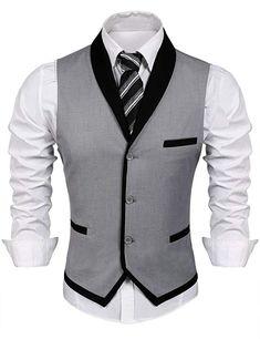 Men's Clothing, Suits & Sport Coats, Men's V-Neck Sleeveless Slim Fit Vest-Jacke. Men's Clothing, Suits & Sport Coats, Men's V-Neck Sleeveless Slim Fit Vest-Jacket Business Suit Dress Vest - Grey - Waistcoat Men, Mens Suit Vest, Mens Suits, Grey Suits, Mens Sport Coat, Sport Coats, Wedding Vest, Grey Tuxedo Wedding, Casual Mode