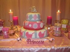 pretty in pink with bling baby shower princess cake
