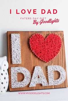 Fathers day I love dad string art wall decor, perfect gift for dad for fathers day or any other occasion, simple wall decor for your dad String Art Templates, String Art Patterns, Father Presents, Gifts For Dad, Ideas Día Del Padre, Diy Father's Day Gift Baskets, Art For Kids, Crafts For Kids, String Crafts