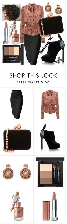 """Thursday Work Wear"" by sexyshonda ❤ liked on Polyvore featuring Sophia Webster, River Island, MAC Cosmetics, Maybelline and Visionnaire"