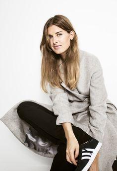 grey coat, black pants & Adidas sneakers #style #fashion