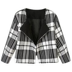 Black Trendy Ladies Plaid Turndown Collar Blazer ($37) ❤ liked on Polyvore featuring outerwear, jackets, blazers, black and blazer jacket