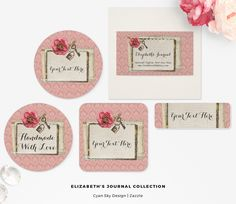 Elizabeth's Journal Collection: Elegantly rustic with soft feminine accents! This beautiful branding design offers a sweet shabby chic theme with photo-realistic elements layered for great depth, plus plenty of paper textures. Lock and key charms are a nice focus for handmade jewelry boutiques and much, much more! CyanSkyDesign on Zazzle.