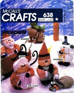 Hugachums Christmas Package OOP McCall's For Sale by BearyAmazingEmporium Mccalls Patterns, Sewing Patterns, Reindeer, Snowman, Elf, Santa Doll, Soft Sculpture, Amazon Art, Sewing Stores