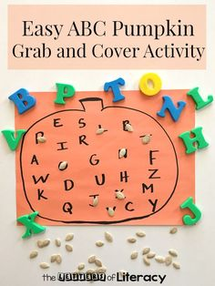 Easy ABC Pumpkin Grab and Cover Activity-Fall alphabet activity for preschool and kindergarten
