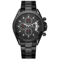 Effort Brand 3ATM Waterproof Quartz Men's Sport Military Army Black Steel Chronograph Auto Date Mens Wrist Watch EF.2016M