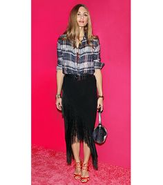 leave it to Olivia Palermo to rock a fringe skirt and plaid!