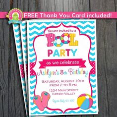 Pool Party Invitation / Pool Party Invite / Kids Pool Party Invitation / Printable Pool Party by ForeverYourPrints on Etsy https://www.etsy.com/listing/195375293/pool-party-invitation-pool-party-invite