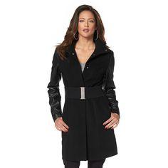 Manteau mi-long ceinturé bi-matière Melrose prix promo Manteau Femme 3 Suisses 129.90 €