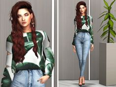 Lookbook #9 Hair - @simpliciaty-cc, Earrings - @Salem2342, Choker - @theslyd Top - @serenity-cc, Recolor - @helgatisha, Jeans - @savage-sims, Shoes - @madlensims Poses - @helgatisha Ts4 Cc, Sims 4 Custom Content, Sims Cc, Poses, Female, Clutter, Cas, Savage, Serenity