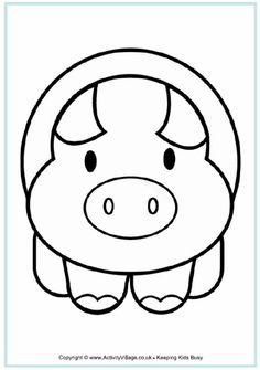 Pig colouring page for younger children