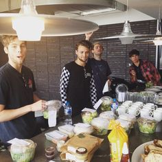Luke is eating  Ashton is looking at all the food  Michael is so happy that there's food so he's singing ( same Michael, same ) And Calum is just being Calum