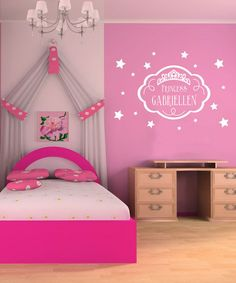 White 'Princess' Personalized Wall Decal