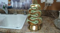 Vtg 60s Mid Century Danish Modern Green Gold Stripe Ceramic Brocade Table Lamp