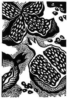 Pomegranate Seeds by Natalia Moroz. This is a hand pulled linocut, from a limited edition of 50.