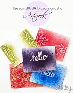 Use your glue gun to create amazing artwork on cards and layouts! #blitsy