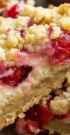 Delicious Cherry Coffee Cake with Crumb Topping - A delicious easy coffee cake recipe that you can make into different flavors by simply using different pie filling flavors. This is a very easy tender, moist coffee cake made in a inch baking pan. Cherry Desserts, Cherry Recipes, Just Desserts, Delicious Desserts, Cherry Ideas, Baking Recipes, Cookie Recipes, Dessert Recipes, Bar Recipes