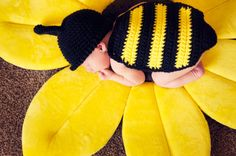 Crochet Newborn Bumblebee Photography Set by RosyCroChic on Etsy, $50.00