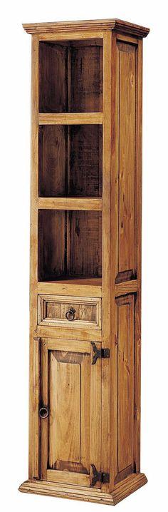 Estantería estrecha para salones rústicos, consta de 2 estantes, 1 puerta y 1 cajón, visitanos en: http://www.rusticocolonial.es/