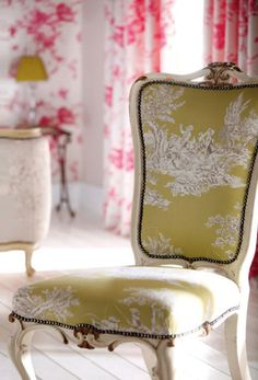 Green and White Toile de Jouy French Chair. See more at http://decoratingfiles.com/2012/07/toile-de-jouy/