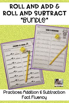Save money by buying this bundle! Roll and Add & Roll and Subtract are fun, hands-on activities that engage students as they practice addition and subtraction fact fluency up to 10 and 20. A student favorite! These games can easily be used in small group instruction, math centers, whole class activity, as a supplemental to your curriculum. #elementary #math #subtraction #addition #mathfacts #factfluency #mathgames #teaching #bundle