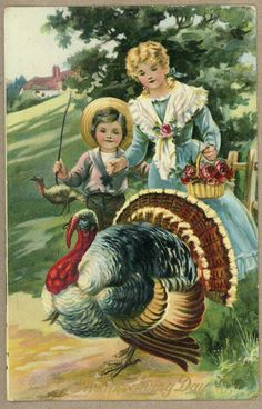 Vintage Thanksgiving postcard - circa 1910 - Turkey and two children with basket. Thanksgiving Pictures, Thanksgiving Greetings, Vintage Thanksgiving, Thanksgiving Traditions, Vintage Holiday, Thanksgiving Holiday, Vintage Halloween, Holiday Postcards, Vintage Postcards