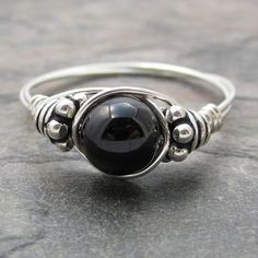 Black Tourmaline sterling silver wire wrapped ring