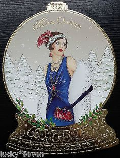 11 Clintons Art Deco Lady Embellished Christmas Cards 3