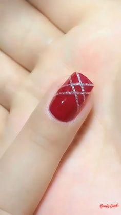 Nail Art Designs Videos, Nail Art Videos, Nail Designs, Nail Art Hacks, Nail Art Diy, Tape Nail Art, Red Nail Art, Acrylic Nail Set, Nagellack Design