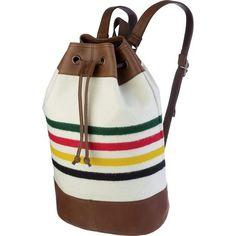 Pendleton Men's Leather Trim Duffle Bag, Glacier Park Stripe, One Size