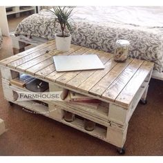 "Rustic Pallet Coffee Table ""LEMMIK"" - I like the use of castors as I am forever having to move our coffee table out of the way so I can exercise"