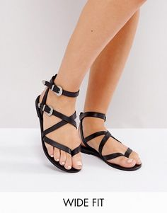 02a154e7ab78 ASOS FIASCO Wide Fit Western Buckle Flat Sandals at asos.com