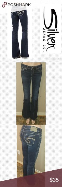 "Silver Jeans 28x33 Frances Silver Frances Jeans size 28, inseam 33"", waist laid flat 14.5"", rise 7.5"". Great condition. First picture for reference. Silver Jeans Jeans Boot Cut"
