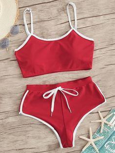 Contrast Trim Top With Lace Up High Leg Bikini Set Bikini Swimwear Bikini Contrast High lace Leg Set top Trim Plus Size Swimsuits, Cute Swimsuits, Women Swimsuits, Modest Swimsuits, Summer Bathing Suits, Girls Bathing Suits, Bandeau Bikini, Bikini Swimwear, Romwe Swimwear