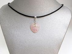 "Natural Gemstone Rose Quartz Heart Pendant Necklace Silver Plate 16""Fengshui USA #Handmade #Pendant #Healing #Protection #Goodluck #Semiprecious #Stone"