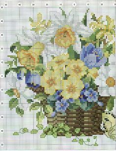 Cross stitch - flowers: spring flowers (free pattern - chart - part 1)