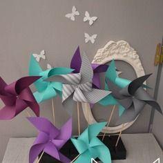 10 moulins vent rose poudr rose pale gris blanc argent d coration mariage d coration for Accessoires garcons turquoise et gris