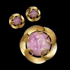 Marvella Vintage Purple Swirl Art Glass Brooch & Earrings Set Matte Goldtone | eBay