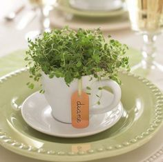 Cute cachepot: Repurpose your coffee cups into tiny centerpieces for place settings. More spring centerpieces: http://www.midwestliving.com/homes/entertaining/spring-centerpieces/page/22/0