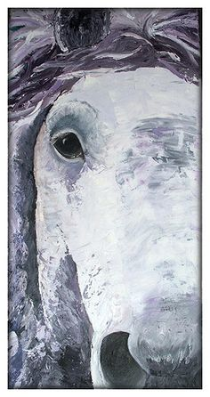I've painted the partial face of a Percheron with oil on Canvas (80x30cm).